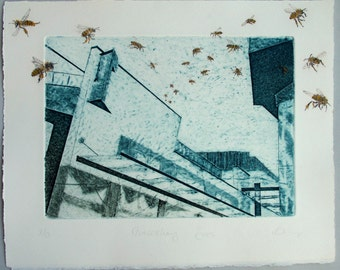 Limited edition fine art print. Urban bees, drypoint and collagraph, hand finished with water color