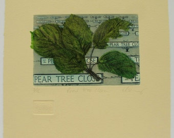 Pear Orchard Etching. Hand tinted chine collè. Street signs. Limited edition.