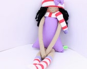 New '''' , Margaret , soft doll, handmade  rag doll, wearing  beret ,scarf and socks ,  ready to ship,stuffed doll