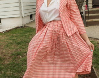 1950s Pink Gingham Jacket and Skirt