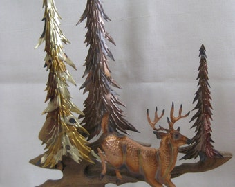 Vintage Wood and Copper Forest Scene Sculpture