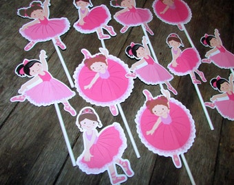 Ballerina Birthday Cupcake Toppers Pink Ballet Dancer Dance Cupcake Treat toppers