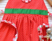 Size 5 Ready to Ship! Red Candy Cane Winter Christmas Holiday Girls Apron - Kids Apron