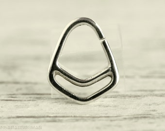 Septum Piercing Nose Ring Body Jewelry Sterling Silver Bohemian Fashion Indian Style 16g 14g - SE011R G1