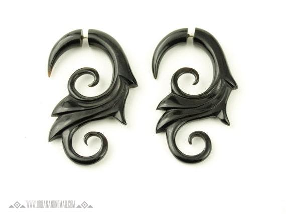 Fake Gauges Earrings Black Horn Earring  Flower Spiral Tribal Earrings - FG005 H G1