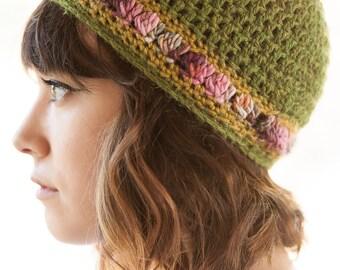 Rose Tree: A Hand-Crocheted Freeform Tam, Beret, beanie, handmade hat, winter accessory, slouchy hat, green hat, alpaca hat, crocheted hat