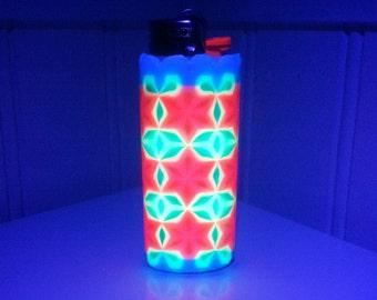 Ultraviolet Perler Bead LIGHTER CASE - brazil - uv - black light - flower of life - sacred geometry