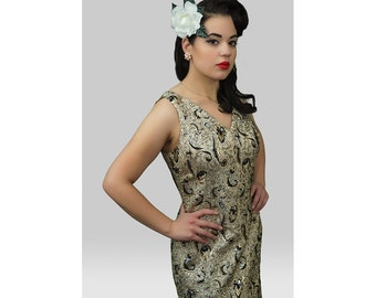 1960s Fashion /  60s Dress / 60s Gold Black and Silver Maxi Dress / Gold Lame Dress / 1960s Gold Gown / Gold Evening Dress