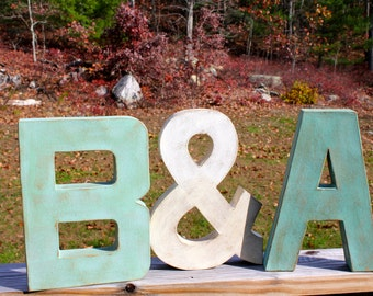 """12"""" Painted Letter Initials with Ampersand (&). Painted Letters. Distressed Letters. Couple Set. Wedding Gift. Photo Prop. Engagement. Gift"""