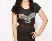Owl sketch tri-blend dark grey T-shirt dress