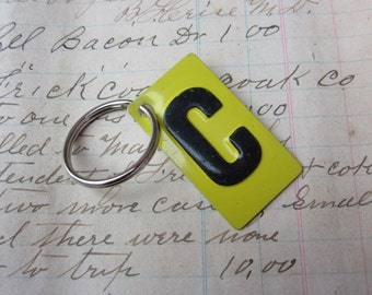 Vintage Metal Letter C Sign Name Initial C Keychain Letter Tag Industrial Sign Black & Yellow Metal Sign Key Chain Fob vtg Upcycled Key Tag