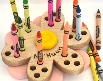 Personalized Flower Crayon Holder - Back To School Gift - Wooden Crayon Holder - an heirloom toy by Hill Country Woodcraft
