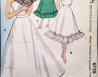 """Vintage 1951 McCall's Misses' Petticoat Crinoline Camisole Pattern 8728 Size 32"""" Bust UNCUT"""