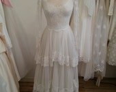 Vintage Wedding Dress 1960's Tulle and Lace Tiered Gown