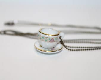 Vintage Tea Cup Necklace - Floral with Geometric Accents