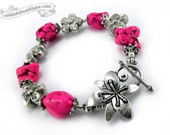 Pink Nugget bracelet gemstone jewelry chunky bracelet pink bracelet boho jewelry flower bracelet pink stone bracelet fuchsia jewelry gift
