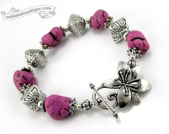 Violet Nugget bracelet, gemstone jewelry, chunky bracelet, violet bracelet boho jewelry flower bracelet purple jewelry gift under 25