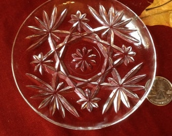 Vintage Clear Pressed Glass Coaster in Anchor Hocking Star Pattern