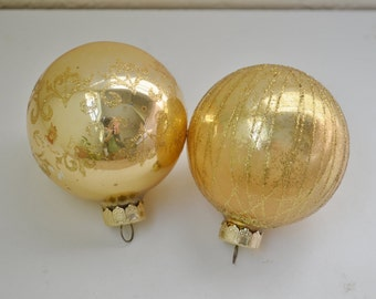 2 Gold Vintage Glass Christmas Ornaments with Glitter Shabby Chic Decor