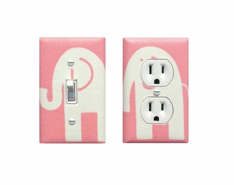 Pink Elephant Light Switch Plate & Outlet Cover SET OF 2 / Baby Girl Nursery Decor / Pink and White Girls Room / Slightly Smitten Kitten