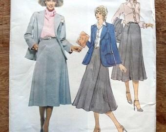 Vintage Vogue Anne Klein American Designer Pattern, Jacket, Skirt, Shirt & Scarf # 1947, Uncut