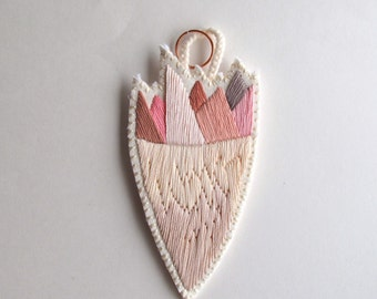 Abstract embroidered pendant beautiful marsala,pink, taupe, tan and champagne colors faux mineral and gem cluster
