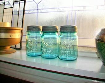 3 Blue Ball Mason Jars Pints Vintage Blue Canning Jars 1923 to 1933