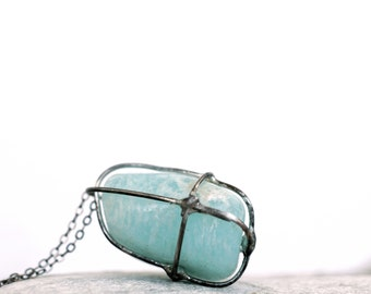 Amazonite Necklace, Mint Gemstone Pendant, Soldered Pendant, Wire Wrapped Pendant, Long Necklace