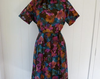 60's Cowl Neck Garden Party Dress Sheer Floral Funnel Collar Pleated Skirt Dress S M