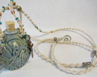 Ceramic Vial Fairy Necklace with Micro Macrame