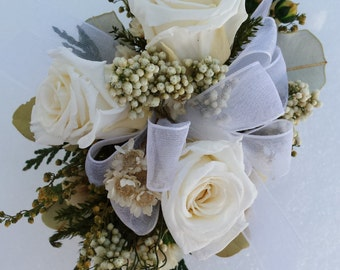 Dried Flower Wrist Corsage White Roses Wristlet For Prom or Wedding