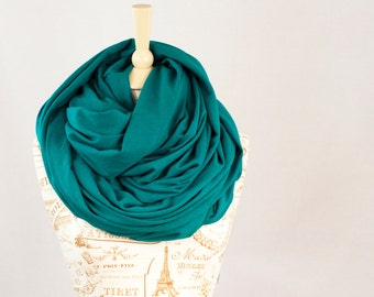 Chunky Scarf, Infinity Scarf, Large Hooded Teal Circle Cowl Scarf, Blue Green Scarf, Extra Shawl Scarf, Large Scarves Winter Men and Women