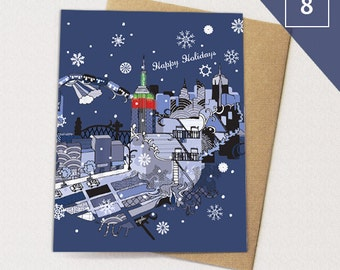 New York City Christmas Cards BOX of 8 // NYC Holiday Card, Xmas New Yorker