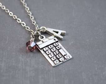 Calculator Necklace - Math Jewelry - Calculator Pendant - Geek Jewelry - Science Jewelry - Personalized Necklace - Gift For Math Teacher