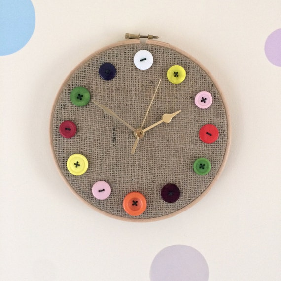 Button Clock - Embroidery Hoop Hessian Buttons Sewing Theme Craft Battery Handmade Non Tick