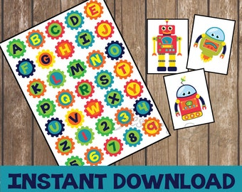 Robot Birthday Party Banner and FREE robot printables
