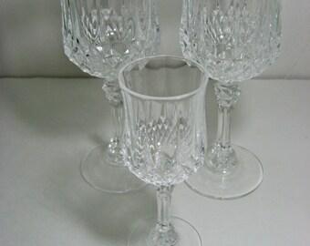 Vintage Cristal D'Arques Longchamp Footed Wine Goblets, Champagne Flutes and Appertif - Stemmed Wine Glasses, Champagne Flutes and Appertif