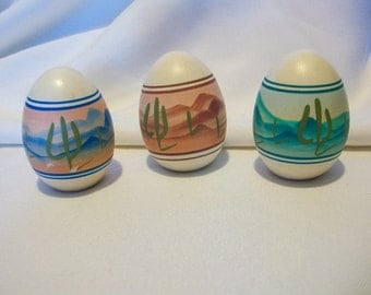 Hand Painted Pottery Eggs  Southwestern  Design   Set of 3    Signed Gaynor  BX9  223254802
