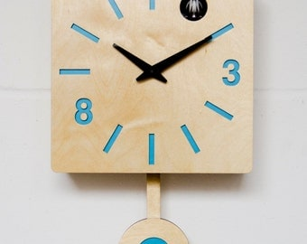 Modern Cuckoo Clock with moving bird - Blue Quadri