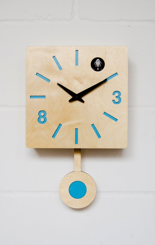Modern cuckoo clock with moving bird blue quadri - Contemporary cuckoo clock ...