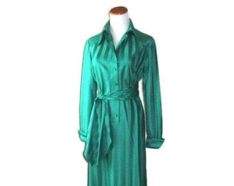 Vintage 1970's Teal Lounge Maxi with Sash by Delby Of California - Size Large