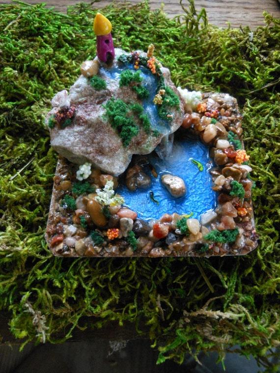 Miniature fairy fantasy terrarium lake pond ooak polymer for Clay fish pond