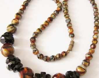 Vintage Faceted Czech Glass Necklace Black /Marbled Brown