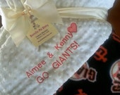 SF Giants Name Minky Blanket Baseball Football Basketball PERSONALIZED Red Sox Tigers Braves Twins Cubs Reds Royals Angels Rangers Brewers