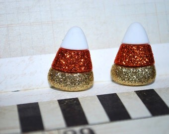Candy Corn Earrings -- Candy Corn Studs, Halloween Earrings, Glittery Candy Corn Studs