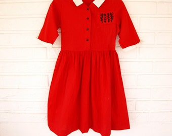 Vintage girls red cotton 50s dress with oriental embroidery youth L or adult XS
