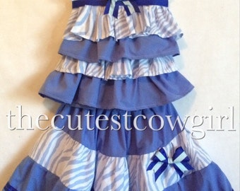 BOUTIQUE Girls blue ZEBRA rhumba top twirl skirt set outfit of choice pageant party ruffles 0 3 6 12 18 24 M 2 3 4 5 6 7 8