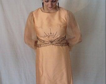 Peach Bellini Party Dress 1960s S/M