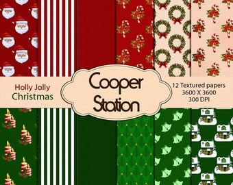 Digital Printable Paper Pack - Holly Jolly Christmas Theme