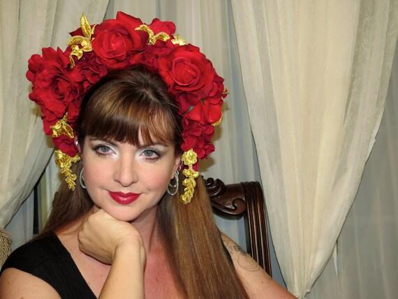 RESERVED*****Fine Spanish Lady Headdress Hair Adornment OOAK Floral Headband